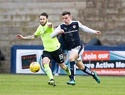 Hibernian's James Keating and Raith Rovers Ross Matthews. Raith Rovers 1 v 1 Hibernian, Scottish Championship game played 18/2/2017 at Starks Park.