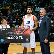 Anadolu Efes's Furkan Korkmaz during their Turkish Basketball Spor Toto Super League ALL-STAR 2016 at the Ulker Sports Arena in Istanbul, Turkey, Sunday 24, January 2016. Photo by Safak KAYARLAR/TURKPIX
