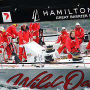 Super maxi yacht Wild Oats XI at the start of the 2009 Rolex Sydney to Harbour Yacht Race in Sydney Harbour. Wild Oats was skippered by Mark Richards and was 2nd in overall line honors.