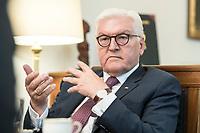 02 JUL 2018, BERLIN/GERMANY:<br /> Frank-Walter Steinmeier, Bundespraesident, waehrend einem Interview, Amtszimmer des Bundespraesidenten, Schloss Bellevue<br /> IMAGE: 20180702-01-048<br /> KEYWORDS: Bundespräsident