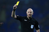 referee Andy Davies in action. EFL Skybet championship match, Cardiff city v Blackburn Rovers at the Cardiff city stadium in Cardiff, South Wales on Wednesday 17th August 2016.<br /> pic by Andrew Orchard, Andrew Orchard sports photography.