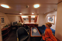 Fisheye View of Erik's Stateroom on the M/S Kong Harald. Image taken with a Nikon Dxs and 10.5 mm f/2.8 fisheye lens (ISO 400, 10.5 mm, f/2.8, 1/30 sec)