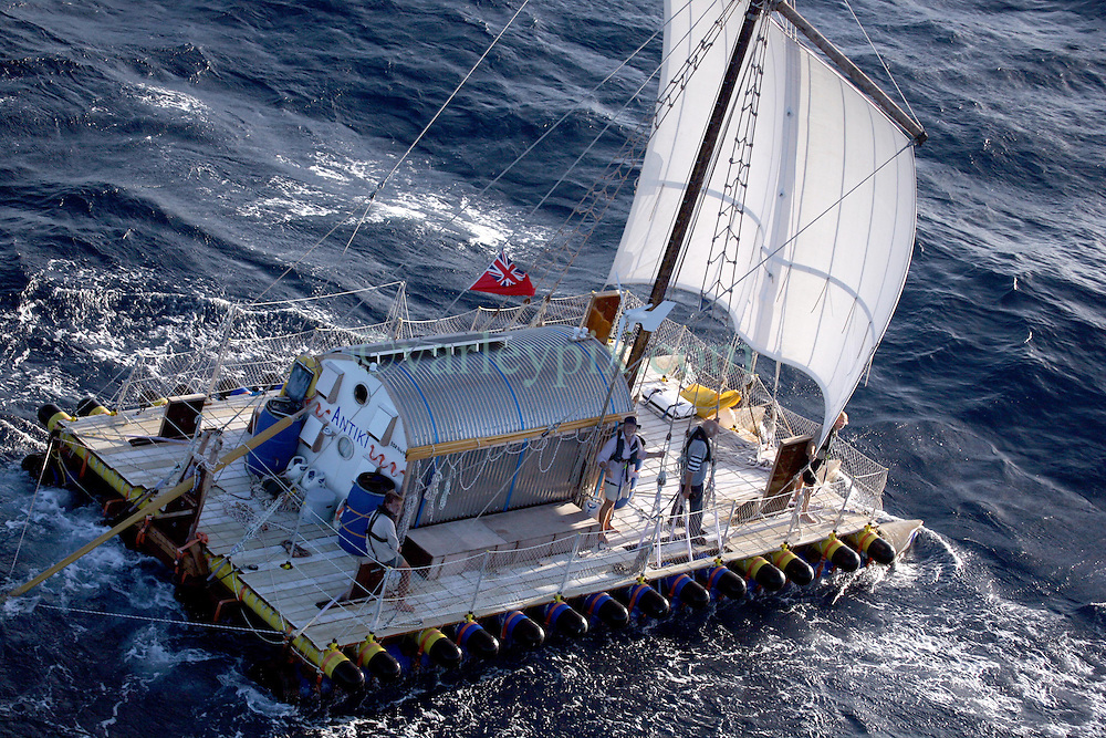 05 April 2011. St Maarten, Antilles, Caribbean.<br /> After more than 9 weeks at sea, having started in the Canary islands, the 'Antiki' transatlantic raft gets set to arrive in St Maarten in the Caribbean following an epic voyage. The incredible vessel is crewed by Anthony Smith (84 yrs old) British adventurer, David Hildred, sailing master and British Virgin Islands resident, Dr Andrew Bainbridge of Alberta, Canada and John Russell, solicitor and UK resident.<br /> Photo; Charlie Varley/varleypix.com