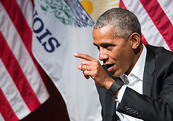 Former President Barack Obama speaks about civic engagement on Monday, April 24, 2017 at the Logan Center for the Arts on the University of Chicago campus. Photo by Zbigniew Bzdak/Chicago Tribune/TNS/ABACAPRESS.COM
