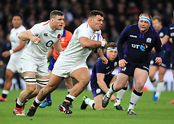 England's Ellis Genge in action during the Guinness Six Nations match at Twickenham Stadium, London.