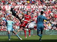 Alvaro Negredo of Middlesbrough strikes the ball during the Premier League match at the Riverside Stadium, Middlesbrough. Picture date: April 8th, 2017. Pic credit should read: Jamie Tyerman/Sportimage