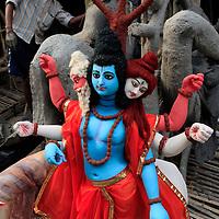 Asia, India, Calcutta. Painted Clay Hindu Figure from the potter's village of Kumartuli in Calcutta.