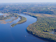 Aerial view of the MIssissippi River and its sloughs, looking eastward into Crawford County, Wisconsin.