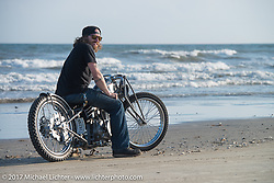 Austin Martin Originals' Austin Andrella with his In Motion Bike Show custom Yamaha SX650 on the beach during the Lone Star Rally. Galveston, TX. USA. Sunday November 5, 2017. Photography ©2017 Michael Lichter.