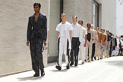 Models on the catwalk during the Chalayan London Fashion Week Men's SS20 show at Bourdon Street, Mayfair, London. PRESS ASSOCIATION. Picture date: Sunday June 9, 2019. Photo credit should read: Isabel Infantes/PA Wire