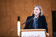 Liz Magill, dean of Stanford Law School, photographed addressing new students, by Brian Smale for Stanford Law Magazine, at Stanford Law campus, Neukom Building.