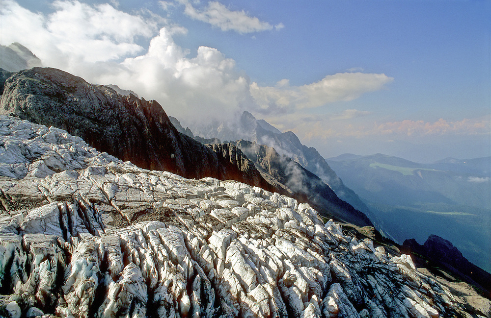 A glacier forming at the summit of Yulong Xueshan or Snow Mountain in China's south west Yunnan Province.