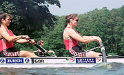 © Peter Spurrier/Sports Photo<br /> e-mail pictures@rowingpics.com<br /> 44(0) 973 819 551<br /> Women's Henley Regatta 2000, 17-18 June 2000. <br /> <br /> Dot Blackie (left) and Cath Bishop, current British International's 'Apply the power' at Henley Women's Regatta in the women's open coxless pairs.<br /> <br /> <br /> <br /> <br /> <br /> <br /> <br /> <br /> <br /> <br />    [Mandatory Credit, Peter Spurier/ Intersport Images]