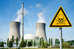 Danger  sign at Grafenrheinfeld nuclear power station on Germany (digitally altered image)