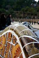 Detail of decorative mosaic ceramic bench by Antoni Gaudí in Park Güell, Barcelona, Spain<br />