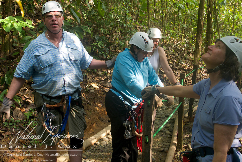 Paul gives Carol a supportive pat on the back during her zip line adventure. Costa Rica.