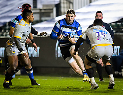 Ruaridh McConnochie of Bath Rugby carries towards Lima Sopoaga of Wasps - Mandatory by-line: Andy Watts/JMP - 08/01/2021 - RUGBY - Recreation Ground - Bath, England - Bath Rugby v Wasps - Gallagher Premiership Rugby
