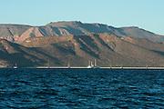 Boats lie at anchorage in Bahia San Gabriel, Isla Espiritu Santo, La Paz, BCS, Mexico; Jan 2010