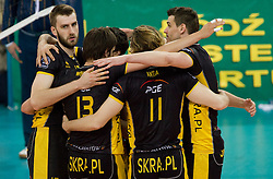Players of Belchatow celebrate at  match for 3rd place of CEV Indesit Champions League FINAL FOUR tournament between PGE Skra Belchatow, POL and ACH Volley Bled, SLO on May 2, 2010, at Arena Atlas, Lodz, Poland. Belchatow defeated ACH 3-1. (Photo by Vid Ponikvar / Sportida)