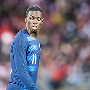EAST HARTFORD, CONNECTICUT- October 16th:   Tim Weah #11 of the United States during the United States Vs Peru International Friendly soccer match at Pratt & Whitney Stadium, Rentschler Field on October 16th 2018 in East Hartford, Connecticut. (Photo by Tim Clayton/Corbis via Getty Images)