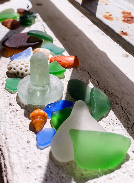 Seaglass and shells collected from the beaches of Barbados in the Caribbean