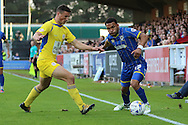 Andy Barcham midfielder for AFC Wimbledon (17) and Matty Pearson defender Accrington Stanley (2) during  the Sky Bet League 2 Play-Off first leg match between AFC Wimbledon and Accrington Stanley at the Cherry Red Records Stadium, Kingston, England on 14 May 2016. Photo by Stuart Butcher.