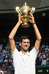 © Licensed to London News Pictures. 15/07/2018. London, UK. Novak Djokovic of Serbia beats Kevin Anderson of South Africa to win the  Wimbledon tennis men's singles finals championships 2018 held at the All England Lawn Tennis and Croquet Club. Photo credit: Ray Tang/LNP