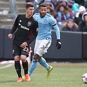 NEW YORK, NEW YORK - March 12:  Ian Harkes #23 of D.C. United challenged by Ethan White #3 of New York City FC during the NYCFC Vs D.C. United regular season MLS game at Yankee Stadium on March 12, 2017 in New York City. (Photo by Tim Clayton/Corbis via Getty Images)
