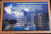 Flood level chart at the Merced River, Yosemite National Park, California