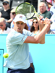 June 20, 2018 - London, United Kingdom - Sam Querrey (USA) in action.during Fever-Tree Championships 2nd Round match between Stan Wawrinka (SUI) against Sam Querrey (USA) at The Queen's Club, London, on 19 June 2018  (Credit Image: © Kieran Galvin/NurPhoto via ZUMA Press)