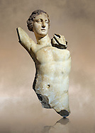 Greek  Hellenistic marble statue of Apollo, God of light, fine arts & prophecy, 2nd cent. B.C.  Istanbul Archaeological museum Inv 383 T.  Cat. Mendel 548 .<br /> <br /> If you prefer to buy from our ALAMY STOCK LIBRARY page at https://www.alamy.com/portfolio/paul-williams-funkystock/greco-roman-sculptures.html- Type -    Istanbul    - into LOWER SEARCH WITHIN GALLERY box - Refine search by adding a subject, place, background colour, museum etc.<br /> <br /> Visit our CLASSICAL WORLD HISTORIC SITES PHOTO COLLECTIONS for more photos to download or buy as wall art prints https://funkystock.photoshelter.com/gallery-collection/The-Romans-Art-Artefacts-Antiquities-Historic-Sites-Pictures-Images/C0000r2uLJJo9_s0c