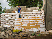 06 JUNE 2014 - IRRAWADDY DELTA,  AYEYARWADY REGION, MYANMAR: A worker stands on a stack of rice sacks in Pathein, the administrative center of the Irrawaddy Delta (or Ayeyarwady Delta) in Myanmar. The region is Myanmar's largest rice producer, so its infrastructure of road transportation has been greatly developed during the 1990s and 2000s. Two thirds of the total arable land is under rice cultivation with a yield of about 2,000-2,500 kg per hectare. FIshing and aquaculture are also important economically. Because of the number of rivers and canals that crisscross the Delta, steamship service is widely available.   PHOTO BY JACK KURTZ