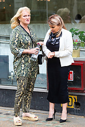Nadia Essex, right, outside her employment tribunal in London where she is suing  former Celebs Go Dating co-host Eden Blackman for unfair dismissal. London, April 24 2019.