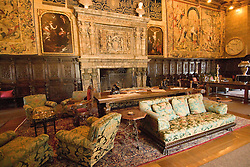 California, San Luis Obispo County: Hearst Castle State Park, formerly the palatial hillside home of publisher William Randoph Hearst.  Living Room..Photo caluis220-71272..Photo copyright Lee Foster, www.fostertravel.com, 510-549-2202, lee@fostertravel.com