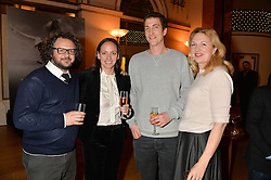 Left to right, JAMES BROWN, LISA BAKER, ORLANDO WARNER and JESSICA FELLOWES at a party to celebrate the publication of  'I Used to be in Pictures' an untold story of Hollywood by Austin Mutti-Mewse and Howard Mutti-Mewse held at The Lansdowne Club, London on 6th March 2014.