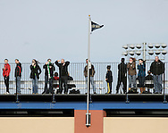 Middletown, New York  - Fans watch from the top of the bleachers as Chazy plays Hamilton in the New York State Class D boys' soccer championship game on Nov. 20, 2011.