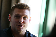 Dan Biggar, the Wales rugby player speaks to the press during the Wales rugby team announcement press conference at the Vale Resort Hotel in Hensol, near Cardiff , South Wales on Tuesday 20th February 2018.  the team are preparing for their next NatWest 6 Nations 2018 championship match against Ireland this weekend.   pic by Andrew Orchard
