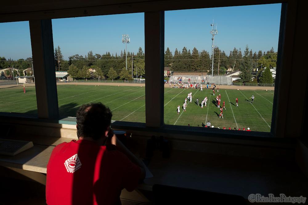 The view form the press box as the San Juan Spartans JV team hosts the Mira Loma Matadors, Friday Sep 16, 2016.<br /> photo by Brian Baer