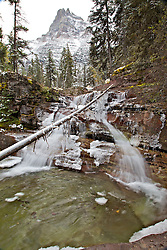 Cascading waterfall on Virginia Creek in  Glacier National Park