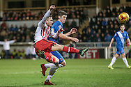 Dean Parrett (Stevenage) takes a shot during the Sky Bet League 2 match between Hartlepool United and Stevenage at Victoria Park, Hartlepool, England on 9 February 2016. Photo by Mark P Doherty.