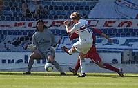 Photo:Alan Crowhurst.<br />Crystal Palace v Sampdoria,Pre season friendly,07/08/2004.Aimo Diana takes a shot at close range to be save by Julian Seperoni.