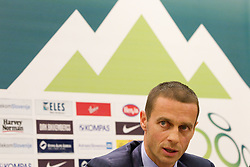 Aleksander Ceferin, president of NZS  during press conference of Football federation of Slovenia when announcing a new head coach of Slovenian National football Team, on October 24, 2011, in Brdo pri Kranju, Slovenia.  (Photo by Vid Ponikvar / Sportida)