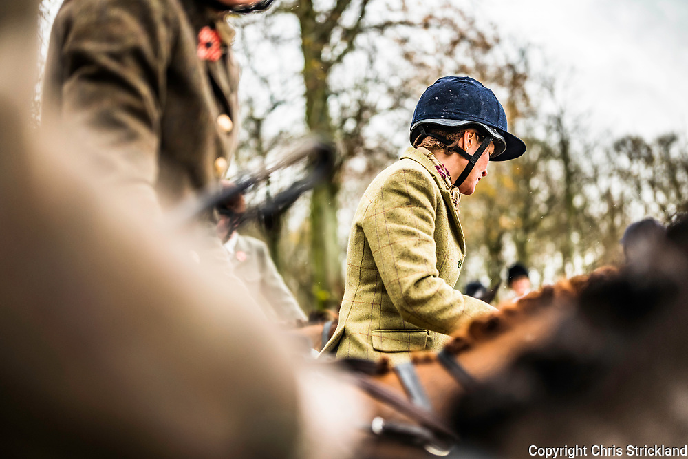 Clarilaw, Melrose, Scottish Borders, UK. 7th November 2018. The Duke of Buccleuch Hunt, the largest mounted gun pack in Scotland, hold their traditional Opening Meet at Clarilaw Farm near Melrose in the Borders.