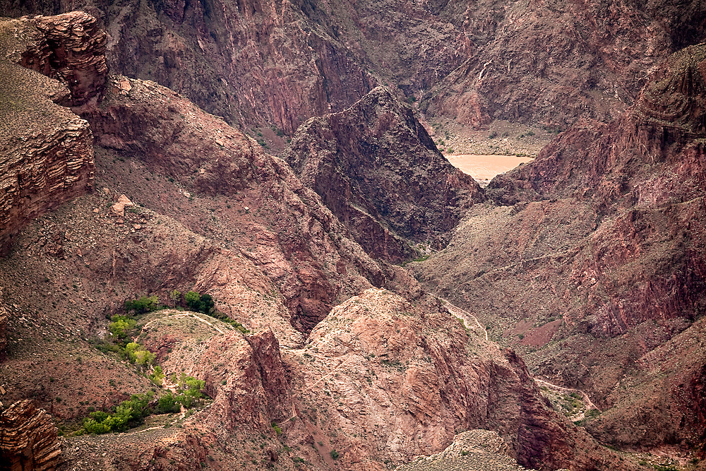 """The Cottonwood grove in the area of the tepeats and schist contact where the Bright Angel trail turns down into the """"Furnance"""", Pipe creek and the Colorado river."""