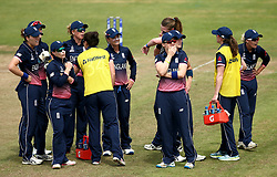 England Women look over to the big screen as they review an umpiring decision unsuccessfully - Mandatory by-line: Robbie Stephenson/JMP - 09/07/2017 - CRICKET - Bristol County Ground - Bristol, United Kingdom - England v Australia - ICC Women's World Cup match 19