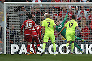 Brighton goalkeeper, David Stockdale (13) saves during the Sky Bet Championship match between Middlesbrough and Brighton and Hove Albion at the Riverside Stadium, Middlesbrough, England on 7 May 2016. Photo by Simon Davies.