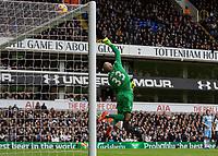 Football - 2016 / 2017 Premier League - Tottenham Hotspur vs. Stoke City<br /> <br /> Lee Grant of Stoke City tips over a drive from Harry Kane of Tottenham at White Hart Lane.<br /> <br /> COLORSPORT/DANIEL BEARHAM