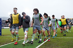 The Newcastle Falcons leave the field after the pre-match warm-up - Mandatory byline: Patrick Khachfe/JMP - 07966 386802 - 27/01/2018 - RUGBY UNION - The Recreation Ground - Bath, England - Bath Rugby v Newcastle Falcons - Anglo-Welsh Cup