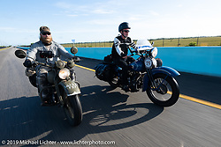 Randy Samz (L) and Gary Shorman ride side by side through the Keys during the Cross Country Chase motorcycle endurance run from Sault Sainte Marie, MI to Key West, FL. (for vintage bikes from 1930-1948). Stage-10 covered 110 miles from Miami to the finish in Key West, FL USA. Sunday, September 15, 2019. Photography ©2019 Michael Lichter.