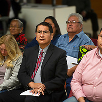 Navajo Nation President Jonathan Nez listens to a panel of former uranium miners discuss the impact uranium mining has had on their lives at a Navajo Uranium Miners Forum Wednesday, Oct. 2 in Window Rock hosted by U.S. Rep. Raúl Grijalva.